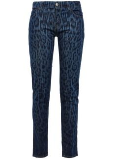 Just Cavalli Woman Leopard-print Mid-rise Skinny Jeans Dark Denim