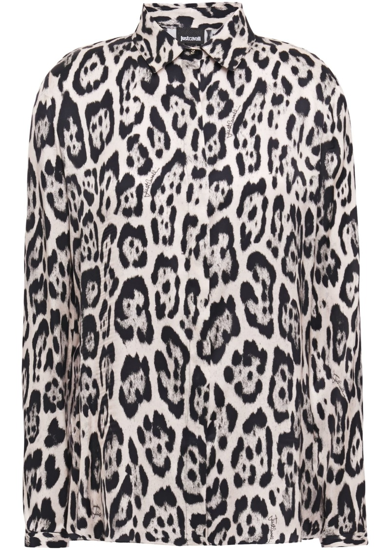 Just Cavalli Woman Leopard-print Satin Shirt Animal Print