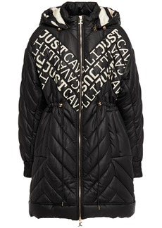 Just Cavalli Woman Logo-print Quilted Shell Hooded Coat Black