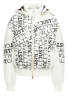 Just Cavalli Woman Logo-print Quilted Shell Hooded Jacket Off-white