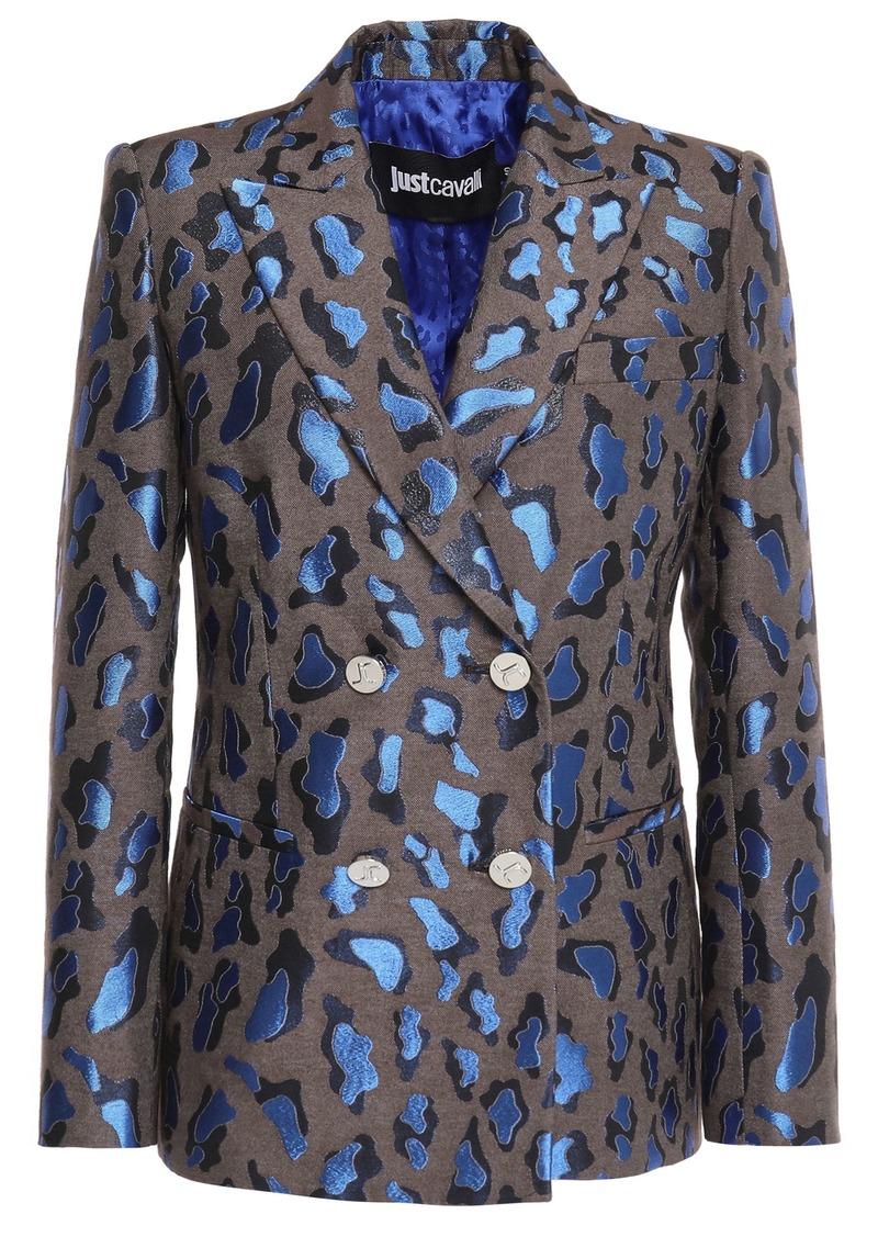 Just Cavalli Woman Metallic Cotton-blend Leopard-jacquard Blazer Mushroom