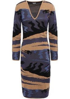 Just Cavalli Woman Metallic Jacquard-knit Dress Brown
