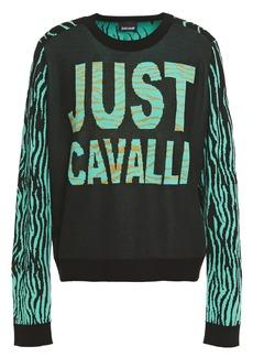 Just Cavalli Woman Metallic Jacquard-knit Sweater Black