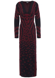 Just Cavalli Woman Metallic Leopard-jacquard Maxi Dress Black