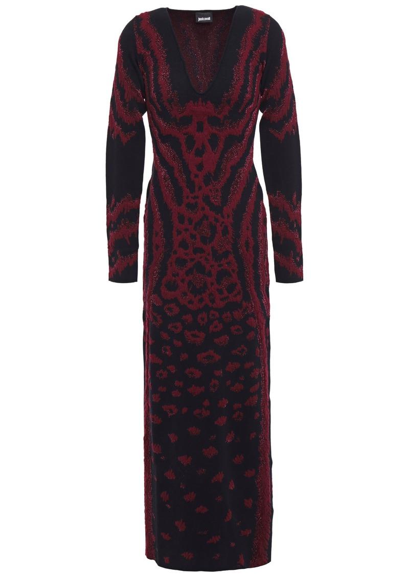 Just Cavalli Woman Metallic Leopard-jacquard Maxi Dress Black