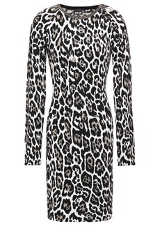 Just Cavalli Woman Metallic Leopard-jacquard Mini Dress Animal Print