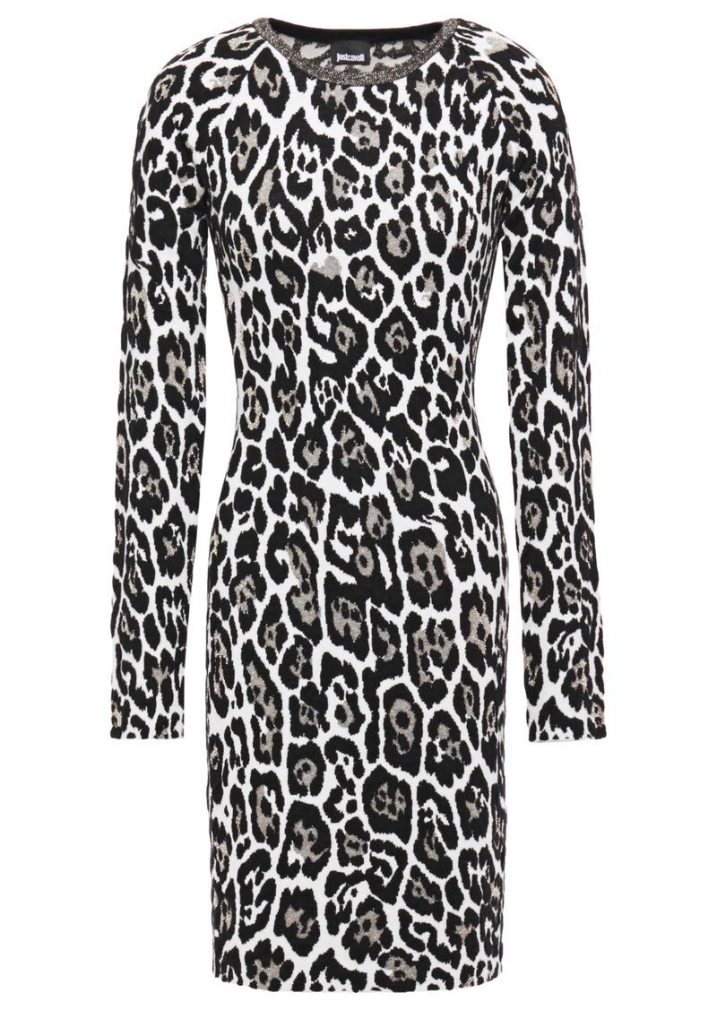Just Cavalli Woman Metallic Leopard-jacquard Mini Dress Animal Print