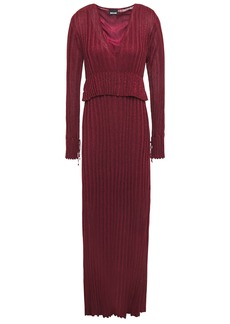 Just Cavalli Woman Metallic Ribbed-knit Maxi Dress Claret