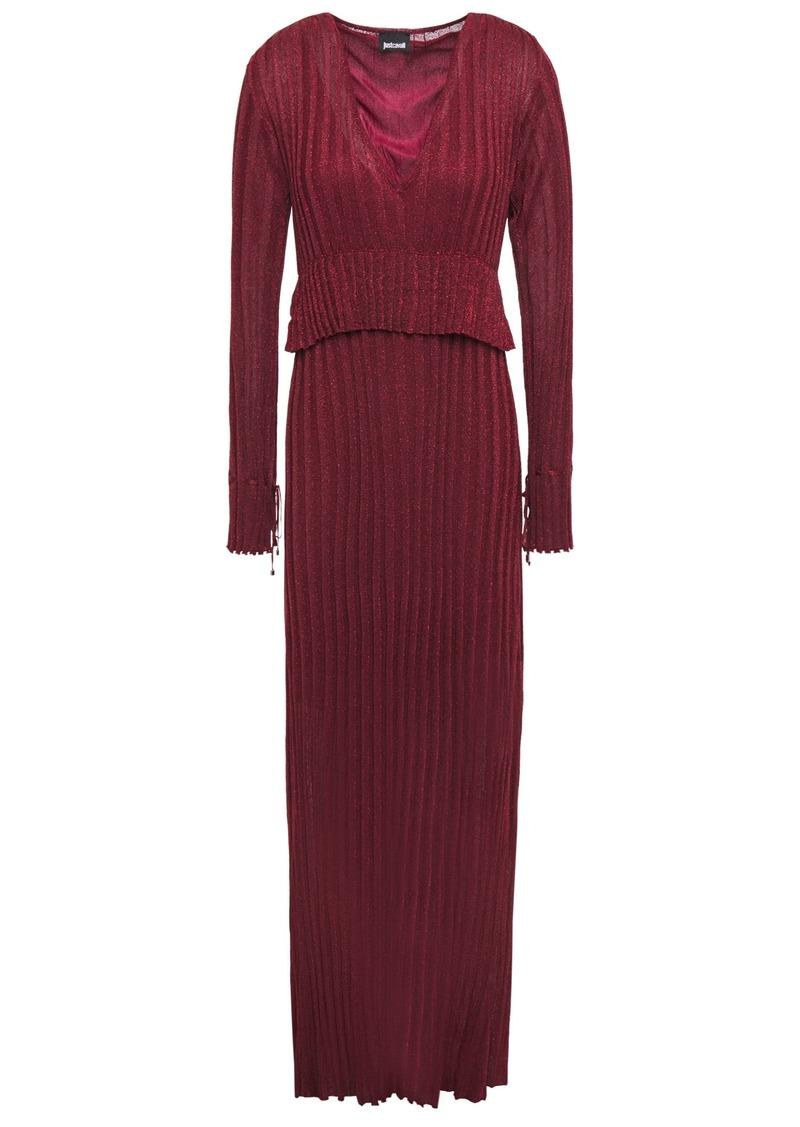 Just Cavalli Woman Metallic Ribbed-knit Maxi Dress Claret