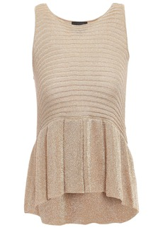 Just Cavalli Woman Metallic Ribbed-knit Peplum Top Gold