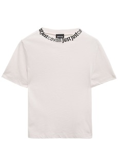 Just Cavalli Woman Monogram-trimmed Cotton-jersey T-shirt Off-white