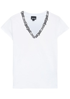 Just Cavalli Woman Monogram-trimmed Cotton-jersey T-shirt White