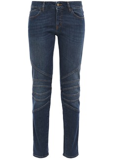 Just Cavalli Woman Moto-style Mid-rise Slim-leg Jeans Dark Denim