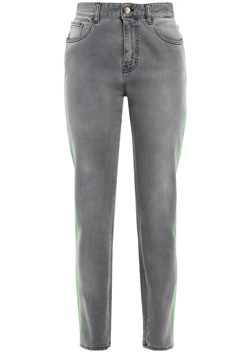 Just Cavalli Woman Neon-trimmed Faded High-rise Slim-leg Jeans Gray