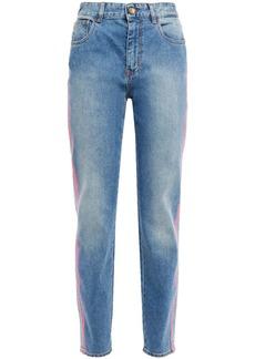 Just Cavalli Woman Neon-trimmed Faded High-rise Slim-leg Jeans Light Denim