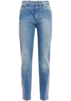 Just Cavalli Woman Neon-trimmed Faded High-rise Slim-leg Jeans Light Denim