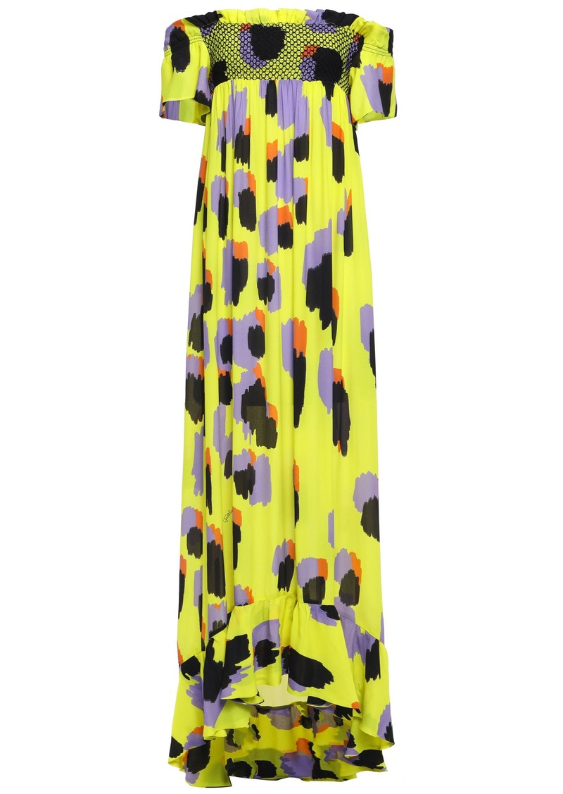 Just Cavalli Woman Off-the-shoulder Smocked Printed Crepe Gown Bright Yellow