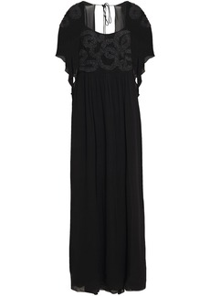 Just Cavalli Woman Open-back Embroidered Chiffon Gown Black