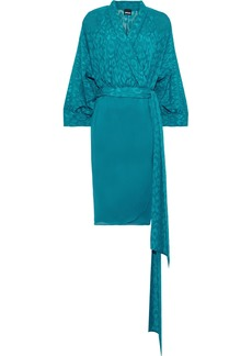 Just Cavalli Woman Paneled Fil Coupé Georgette Wrap Dress Teal