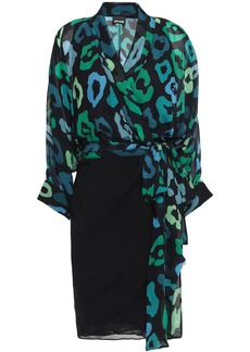 Just Cavalli Woman Paneled Leopard-print Chiffon Mini Wrap Dress Black