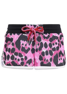 Just Cavalli Woman Perforated Leopard-print Jersey Shorts Pink