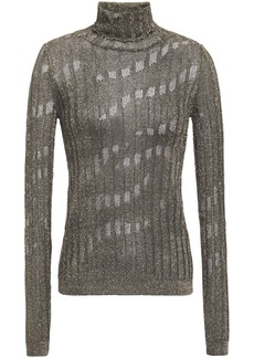 Just Cavalli Woman Pointelle-trimmed Ribbed-knit Turtleneck Top Gunmetal