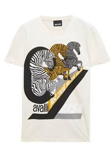 Just Cavalli Woman Printed Cotton-jersey T-shirt Ivory