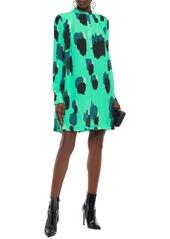 Just Cavalli Woman Pleated Printed Crepe Mini Dress Lime Green