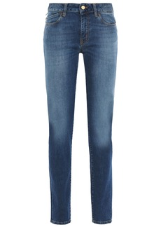 Just Cavalli Woman Printed Faded Mid-rise Slim-leg Jeans Mid Denim
