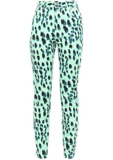 Just Cavalli Woman Printed High-rise Skinny Jeans Mint