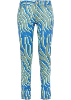 Just Cavalli Woman Printed Mid-rise Slim-leg Jeans Army Green