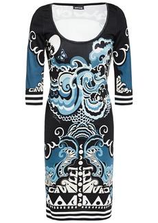 Just Cavalli Woman Printed Ponte Mini Dress Slate Blue