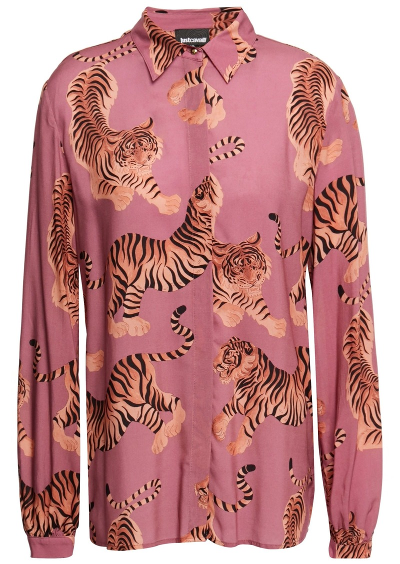 Just Cavalli Woman Printed Satin Shirt Antique Rose