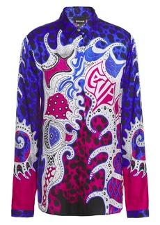 Just Cavalli Woman Printed Satin Shirt Royal Blue