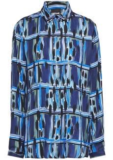 Just Cavalli Woman Printed Satin Shirt Indigo