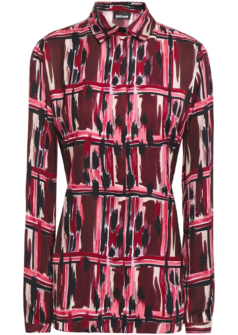 Just Cavalli Woman Printed Satin Shirt Plum