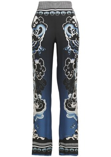 Just Cavalli Woman Printed Satin Straight-leg Pants Black