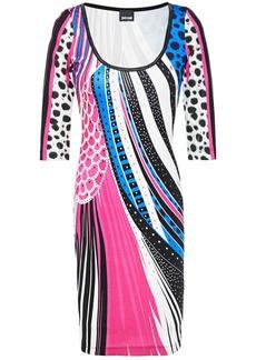 Just Cavalli Woman Metallic-trimmed Printed Stretch-jersey Dress Fuchsia