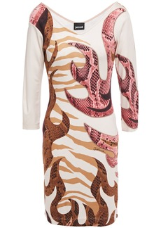 Just Cavalli Woman Printed Stretch-jersey Mini Dress Cream