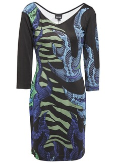 Just Cavalli Woman Printed Stretch-jersey Mini Dress Army Green