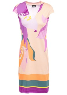 Just Cavalli Woman Printed Stretch-jersey Mini Dress Beige