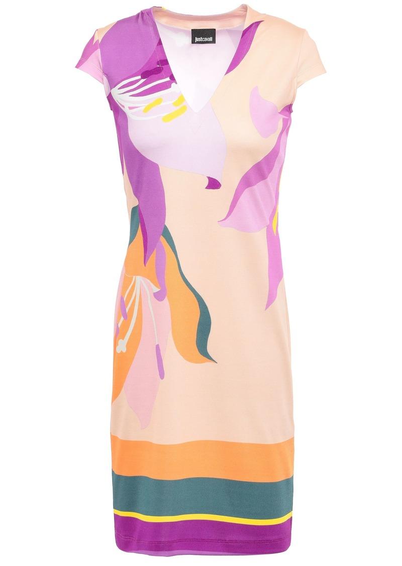 Just Cavalli Woman Printed Stretch-jersey Mini Dress Beige