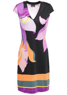 Just Cavalli Woman Printed Stretch-jersey Mini Dress Black