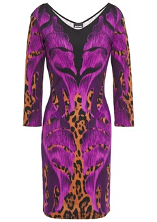 Just Cavalli Woman Printed Stretch-jersey Mini Dress Violet