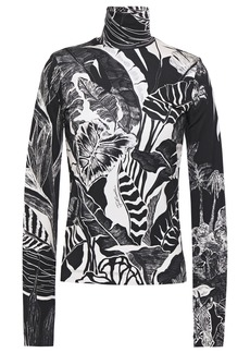 Just Cavalli Woman Printed Stretch-jersey Turtleneck Top Animal Print