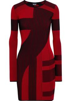 Just Cavalli Woman Ribbed Jacquard-knit Mini Dress Red