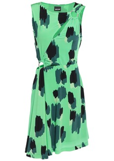 Just Cavalli Woman Ring-embellished Cutout Printed Jersey Mini Dress Light Green