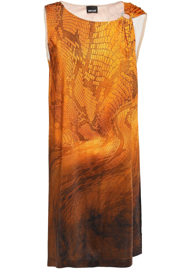 Just Cavalli Woman Ring-embellished Snake-print Stretch-jersey Mini Dress Orange