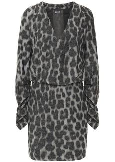 Just Cavalli Woman Ruched Metallic Leopard-print Knitted Mini Dress Silver