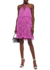 Just Cavalli Woman Ruffle-trimmed Georgette Halterneck Mini Dress Magenta